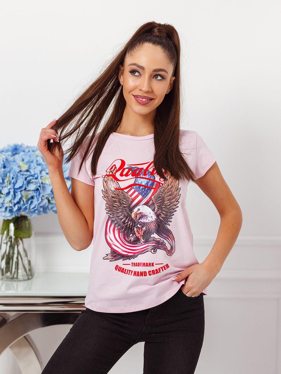 tshirt koszulka na krotki rekaw damska z nadrukiem orzel jasny roz (1)