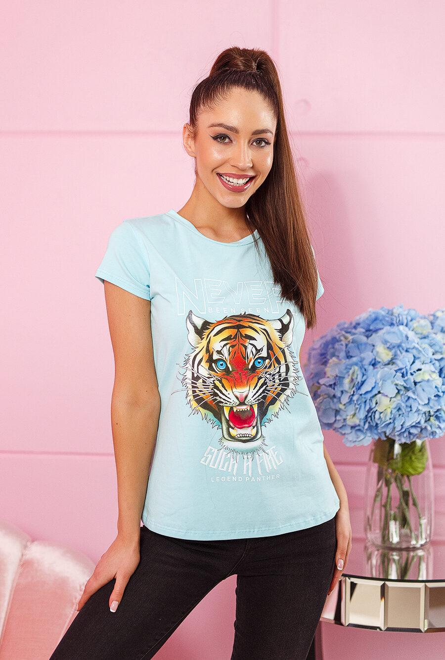 tshirt koszulka na krotki rekaw damska z nadrukiem tygrys blekit (1)