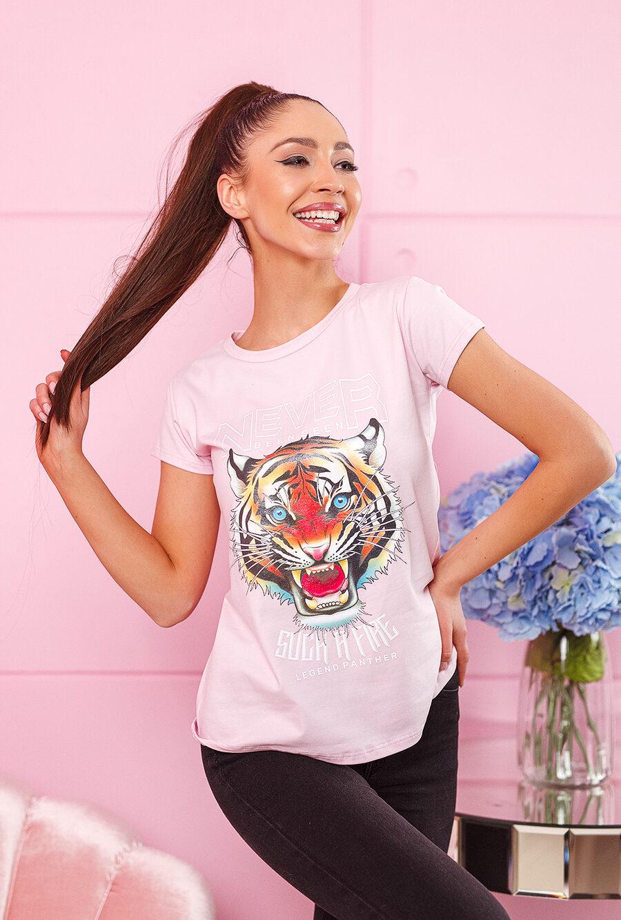 tshirt koszulka na krotki rekaw damska z nadrukiem tygrys jasny roz (1)