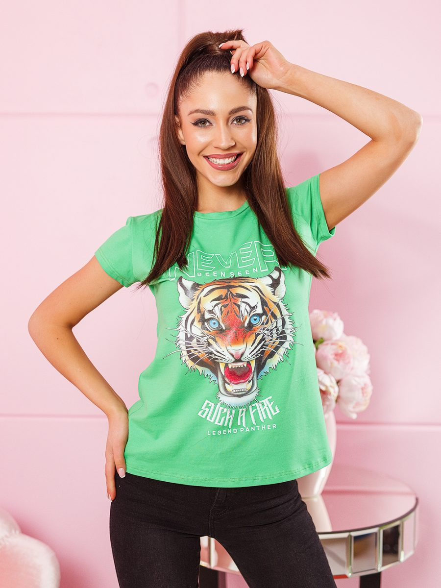 tshirt koszulka na krotki rekaw damska z nadrukiem tygrys zielona (1)
