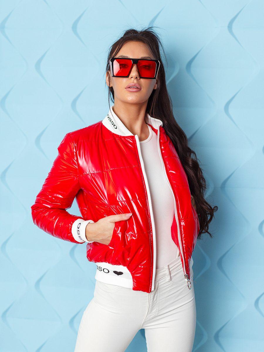 kurtka bomberka damska pikowana ze sciagaczem ingrosso czerwona (1)
