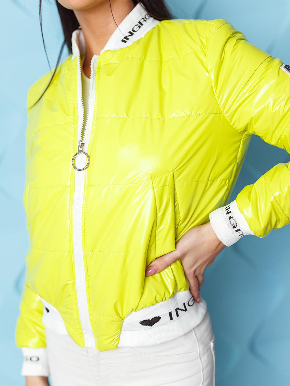 kurtka bomberka damska pikowana ze sciagaczem ingrosso limonkowa (5)