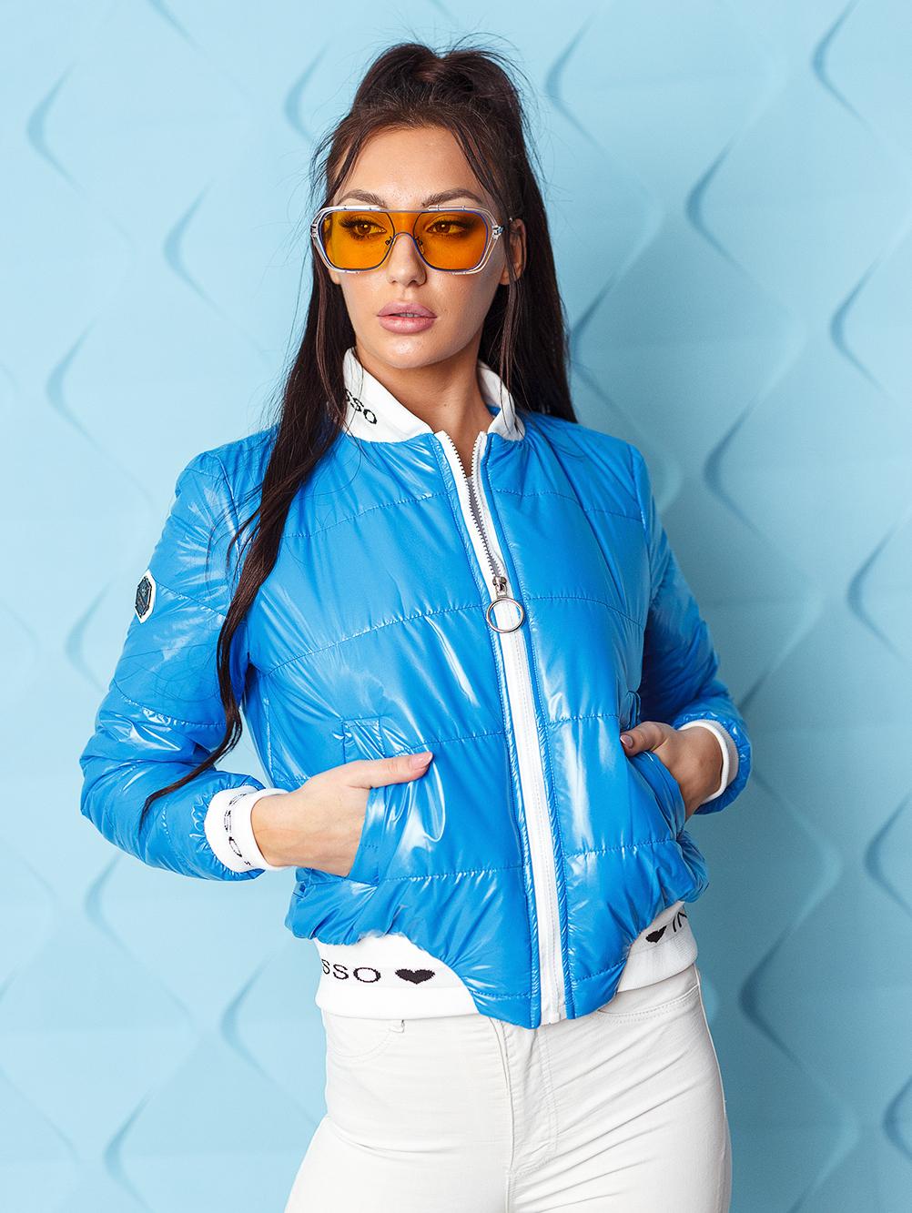 kurtka bomberka damska pikowana ze sciagaczem ingrosso niebieska (3)