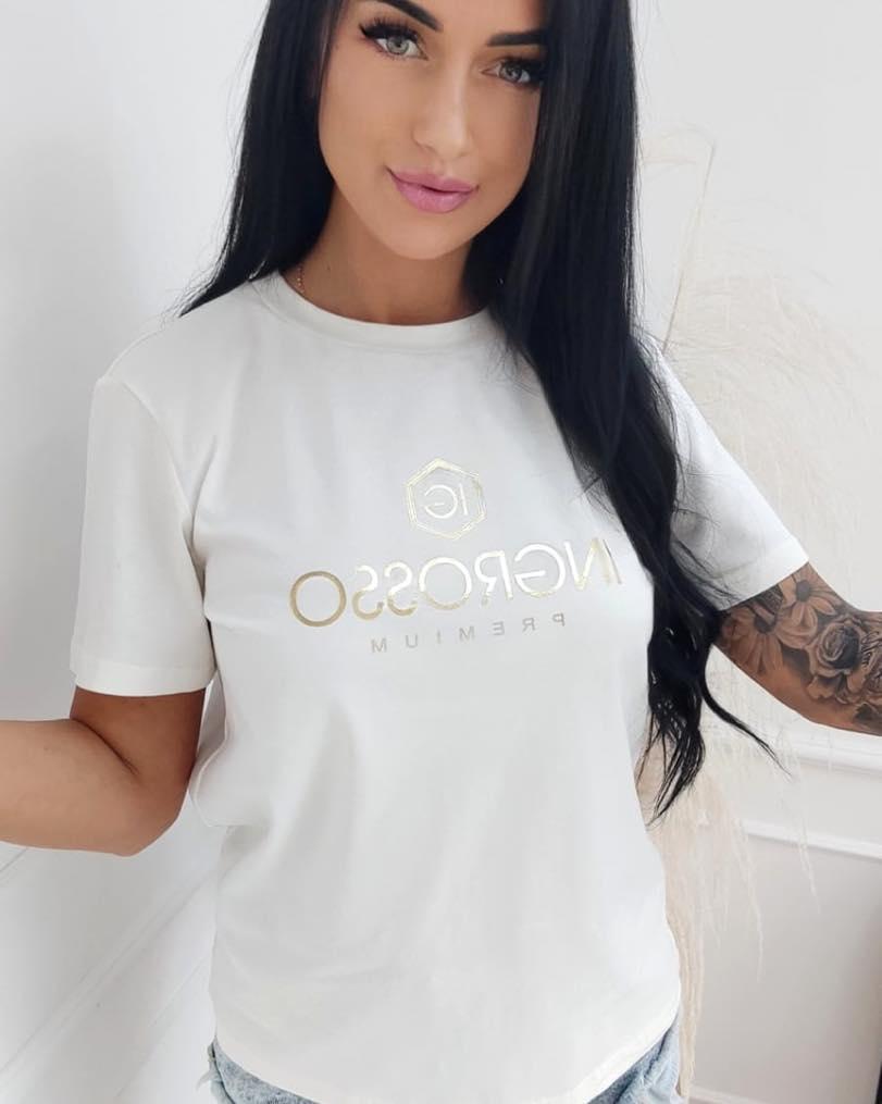 koszulka damska krotki rekaw ze zlotym nadrukiem ingrosso ecru
