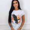 koszulka tshirt krotki rekaw nadruk damska orzel w ogniu bialy
