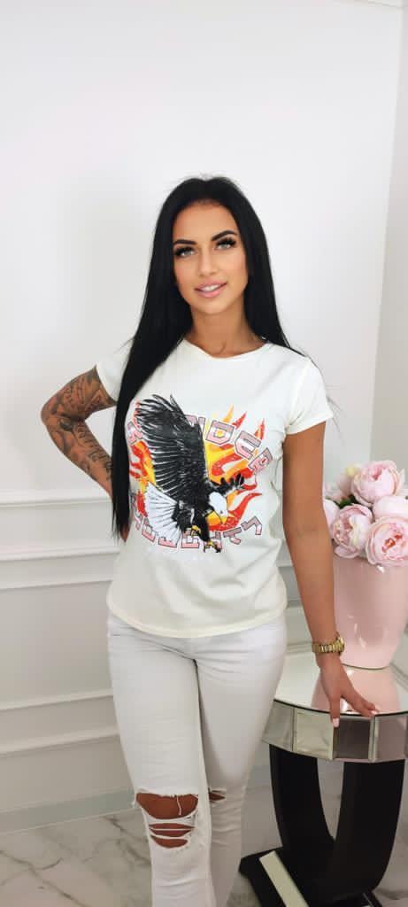 koszulka tshirt krotki rekaw nadruk damska orzel w ogniu ecru