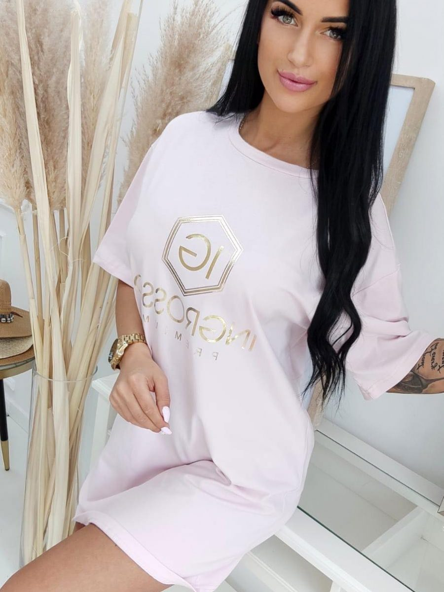 sukienka ze zlotym nadrukiem jasny roz