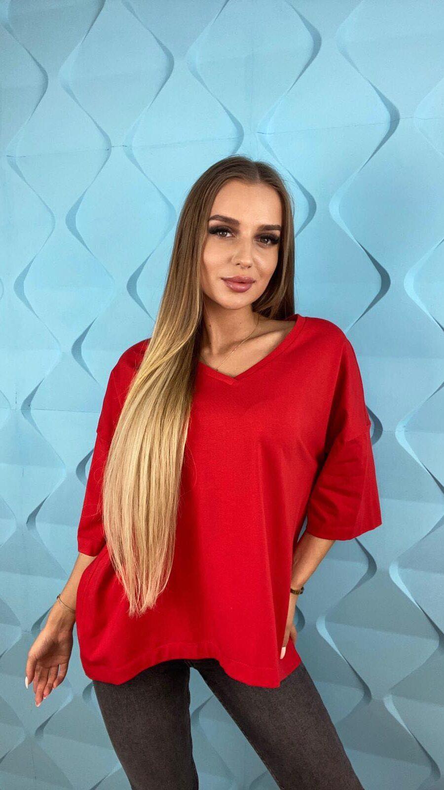 koszulki tshirty damskie duze rozmiary czeerwony