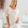T-shirt big size nakrapiany z haftem jasny beż