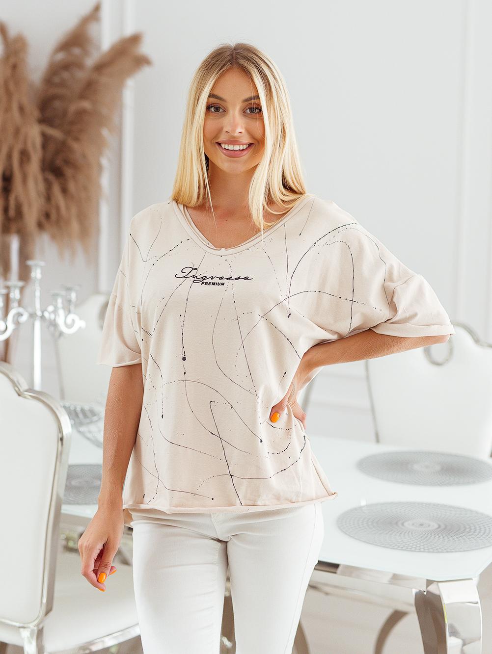 T-shirt big size nakrapiany z haftem beż 3