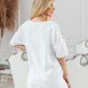 T-shirt big size nakrapiany z haftem biały 2