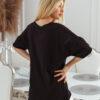 T-shirt big size nakrapiany z haftem czarny
