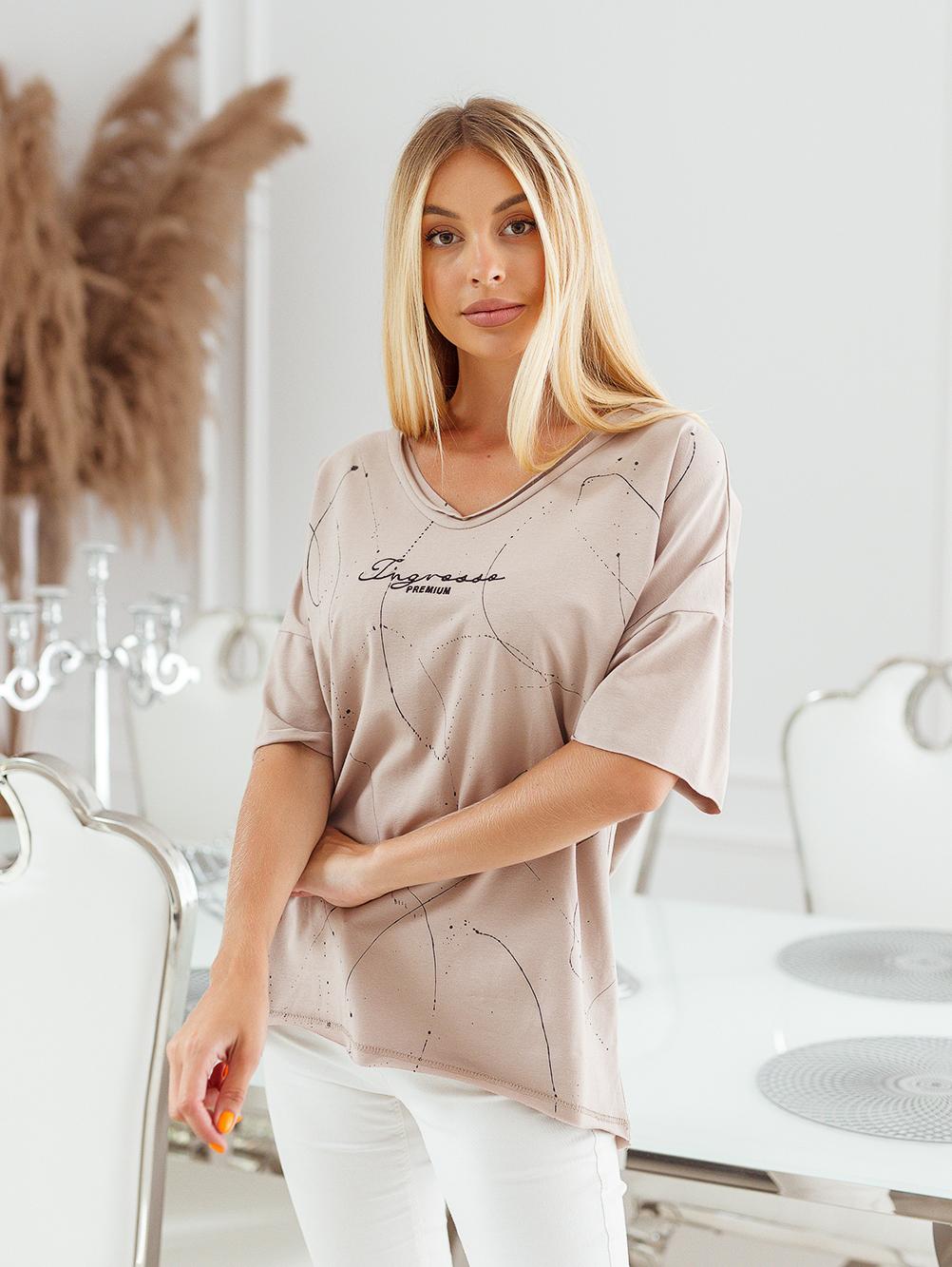 T-shirt big size nakrapiany z haftem ciemny beż