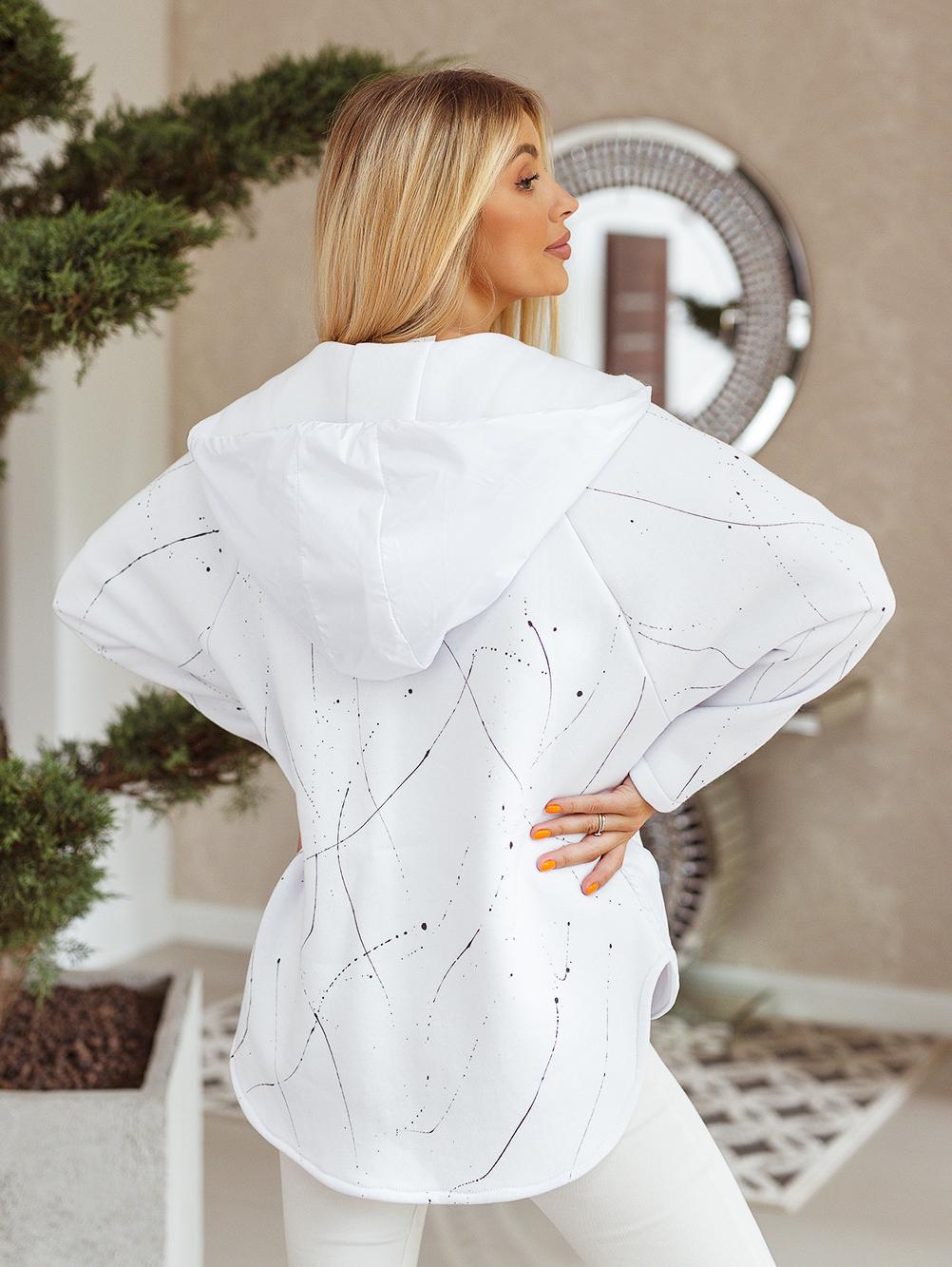 bluza ortalionowa nakrapiana biała 6