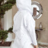 bluza ortalionowa nakrapiana biała