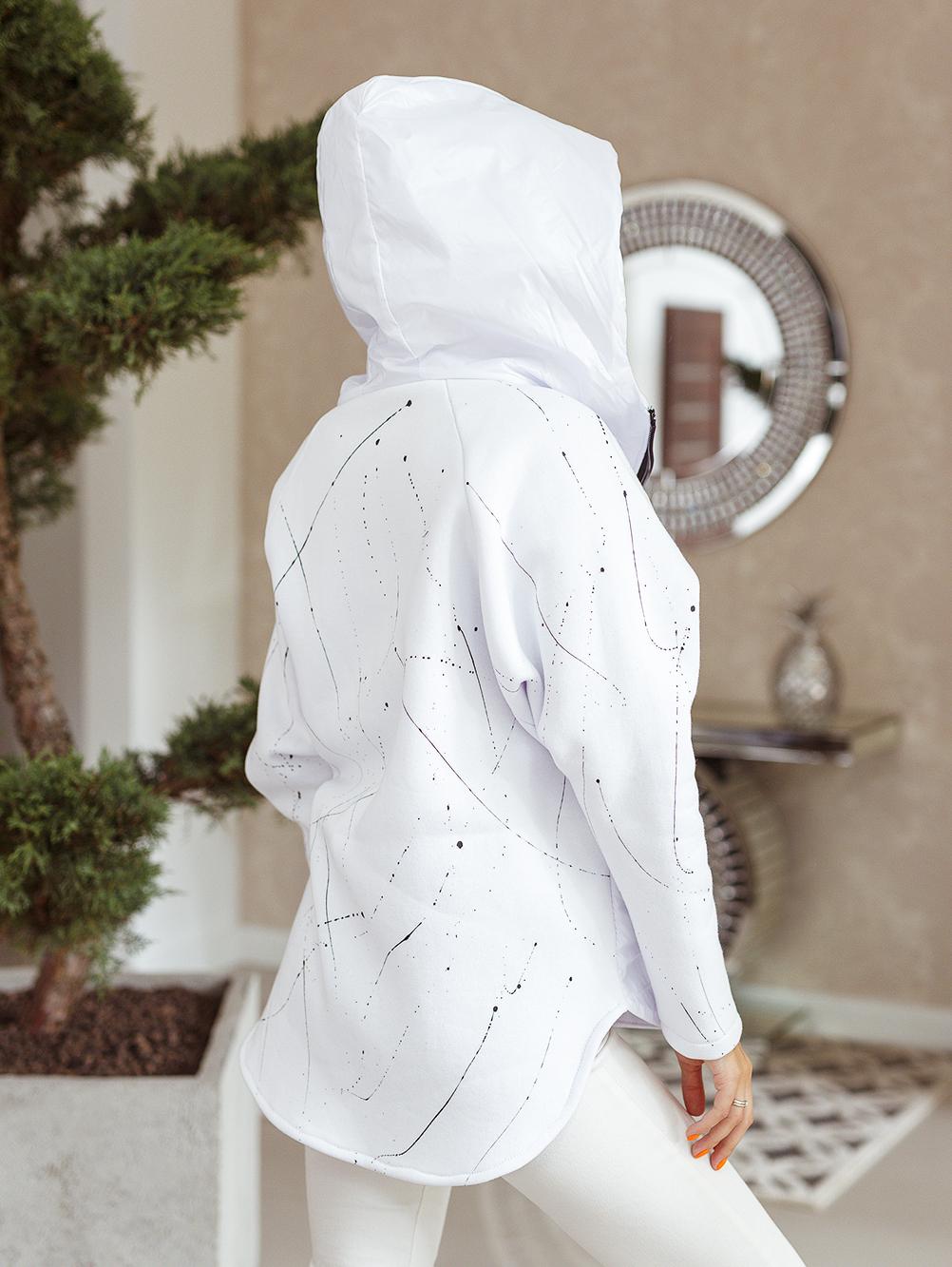 bluza ortalionowa nakrapiana biała 7