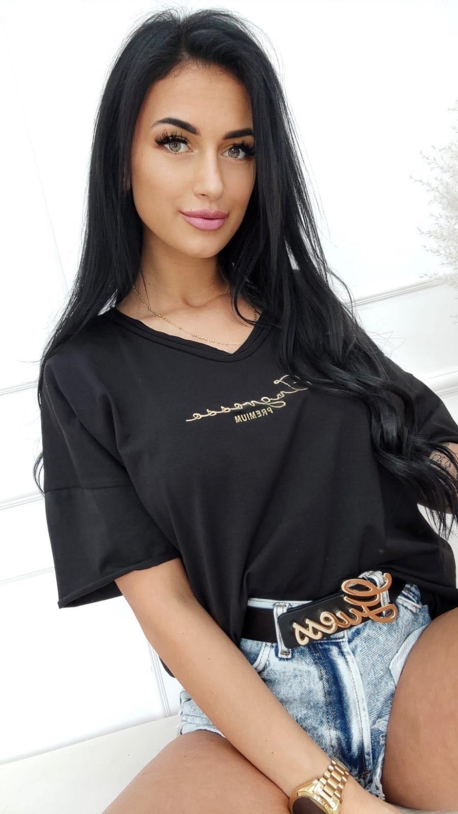 koszulka t-shirt duze rozmiary haft ingrosso czarna
