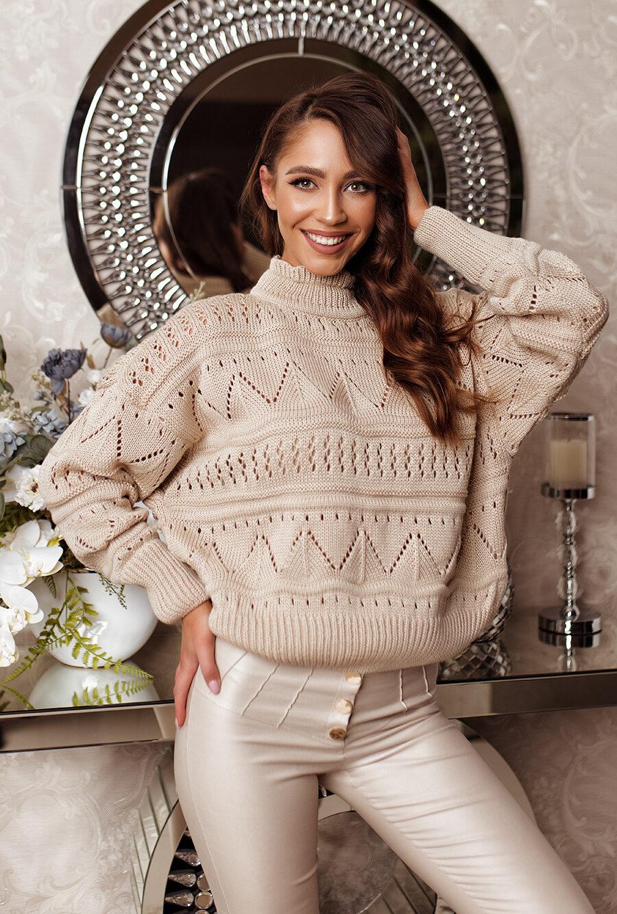 Sweter ażurowy jasny beż5